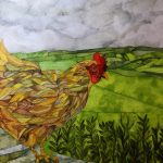 Chicken II.                  Inks and dyes. 28 x 38 cm on Moulin du Roy 300 gsm Torchon. SOLD